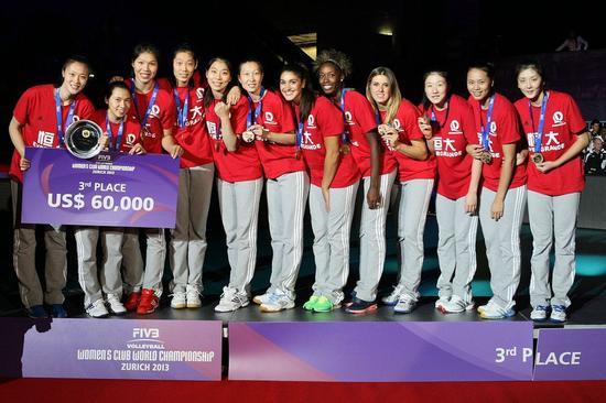 恒大女排是2013年世俱杯的第三名