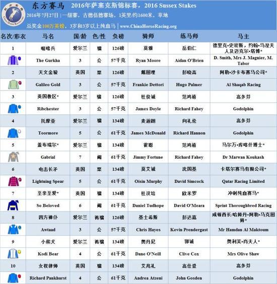 [注]   马匹,马主,练马师,骑师的中文名字旁边出现 * 表示香港赛马