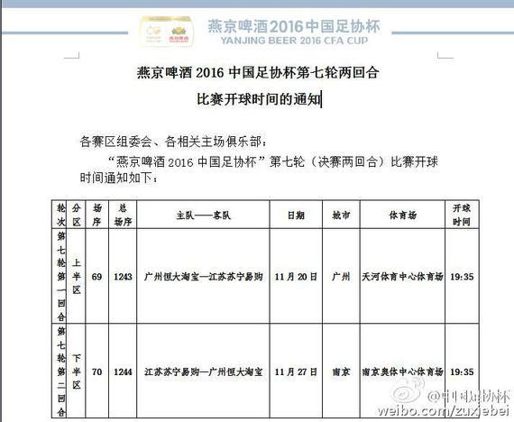 足协杯决赛开球时间:恒大苏宁11月两回合决战
