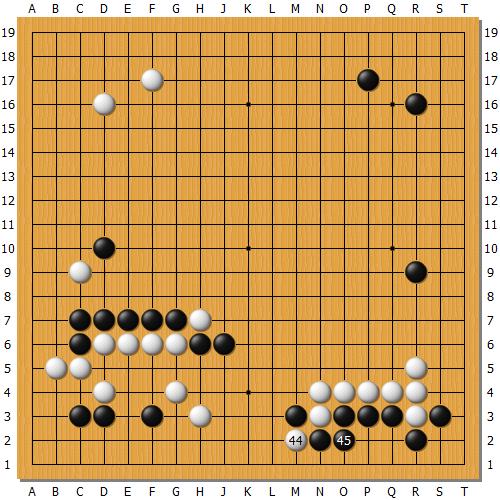 周睿羊白44断棋后,朴廷桓黑45选择的方向是问题手。