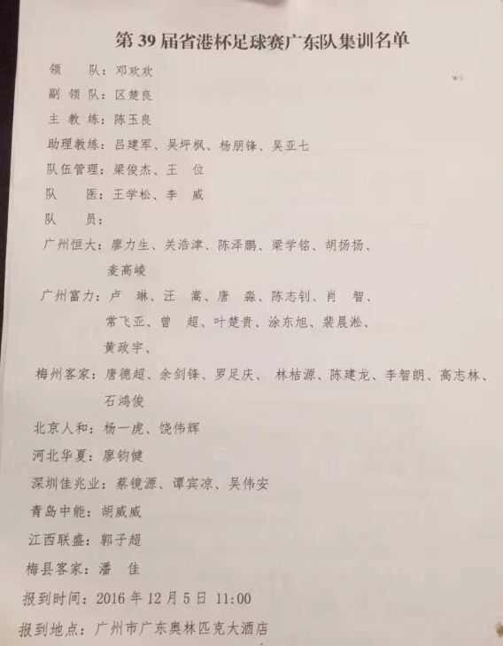 省港杯广东队集训名单曝光:廖力生卢琳汪嵩领衔