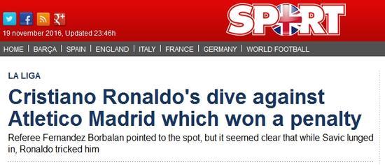 《每日体育报》表示C罗跳水