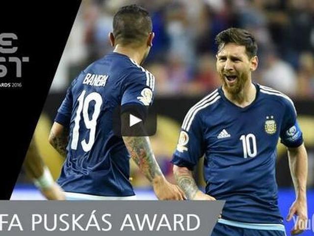 视频-2016普斯卡什奖候选 梅西惊天任意球超越战神