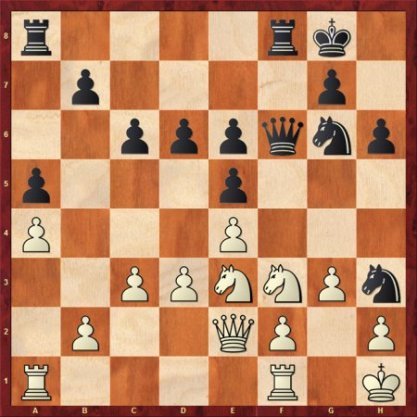 在卡尔森走出20.Nd2后,卡尔亚金失去了紧张的和棋变迁――Nf2