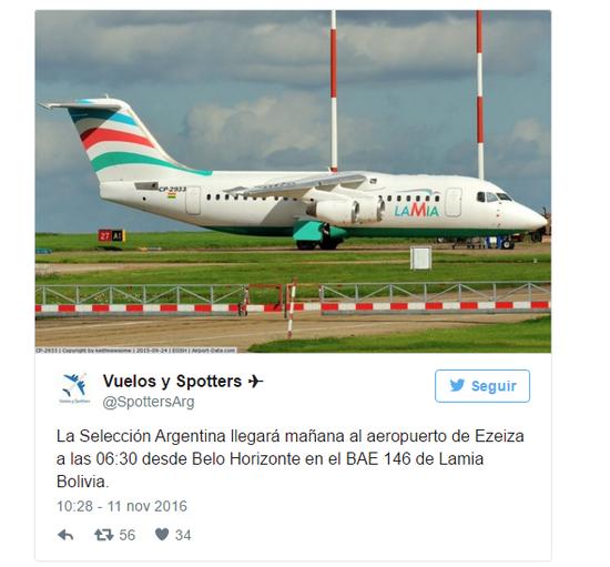 其时推特账号公布的图像:阿根廷将乘坐这架飞机到埃塞萨