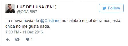 皇马球迷在推特上表达对C罗女友的不满