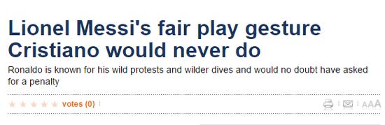 《每日体育报》:梅西的公平举动C罗永不会做