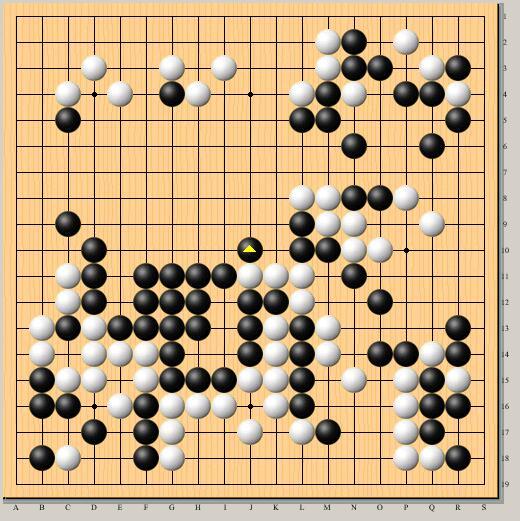 棋局结束时的局面,Master执黑VS井山裕太