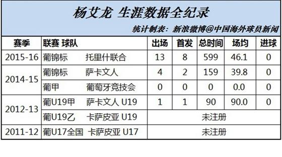 杨艾龙生涯数据全纪录