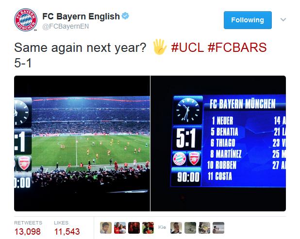 拜仁官推嘲讽阿森纳:明年欧冠再约一个5-1?_威尼斯娱乐平台