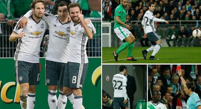 欧联-姆希塔良进球伤退 曼联总分4-0晋级