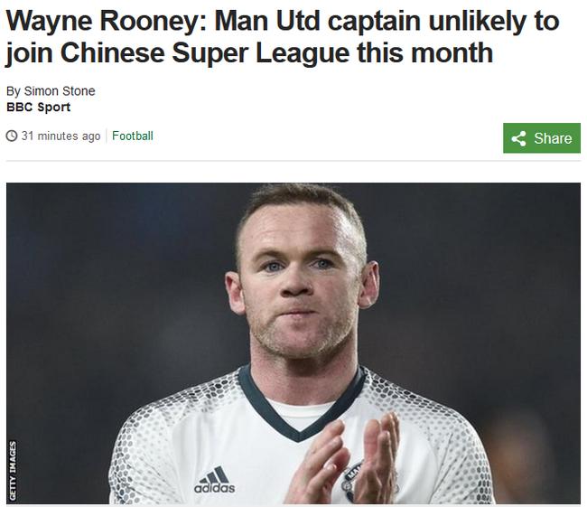 BBC:鲁尼可能只留到赛季末