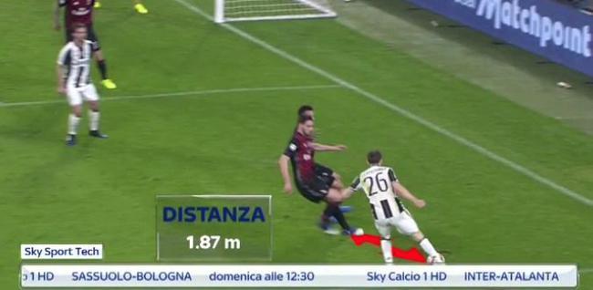 球员与球的距离太近了