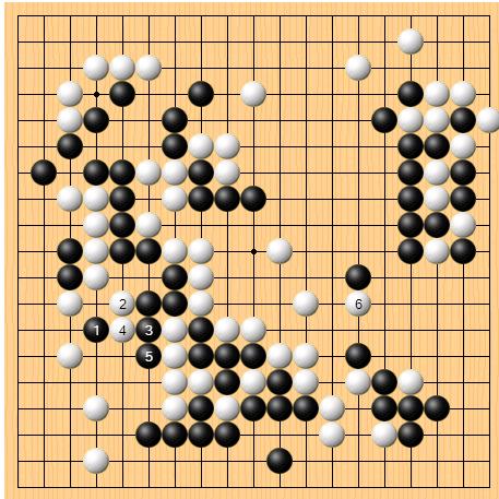黑1是崔哲瀚后悔的棋,左边被白棋割走
