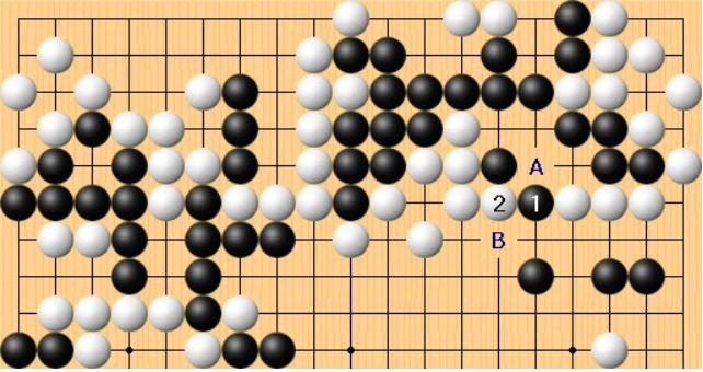 """申旻埈黑1挣扎出逃,这时李东勋白2""""捉放曹"""",这一步应挤在A位。如此以后不会出现对杀问题。白A后,黑棋如果接在B位,白棋就B位拐。"""