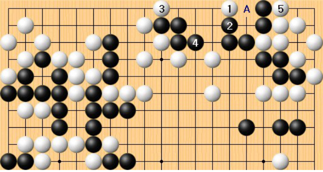 李东勋白1点入后白3扳,杀棋次序。接着申旻埈黑4把活棋下成死棋。这一步应在A位不会死。