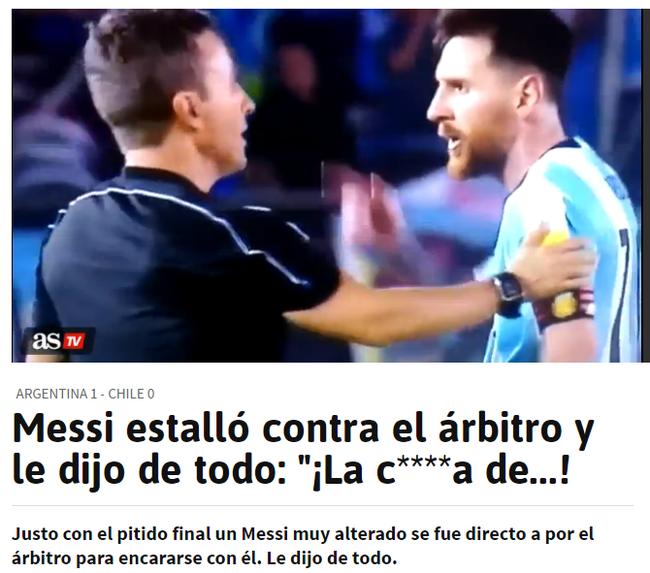 阿斯报:梅西对裁判爆粗口