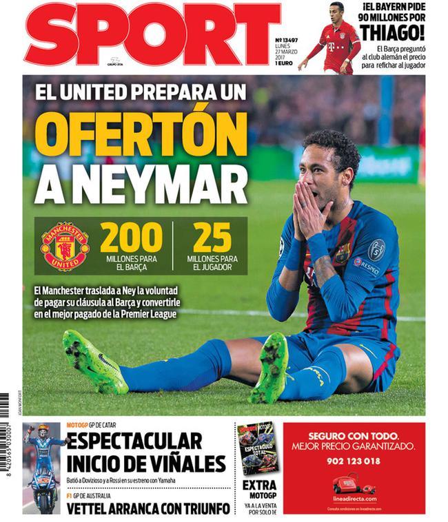 《每日体育报》:曼联天价求购内马尔