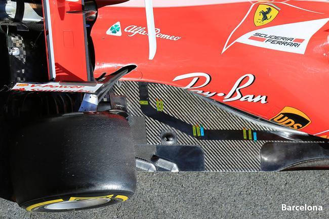 冬测开始,法拉利赛车底板上伴随温度感应装置的碳纤维条