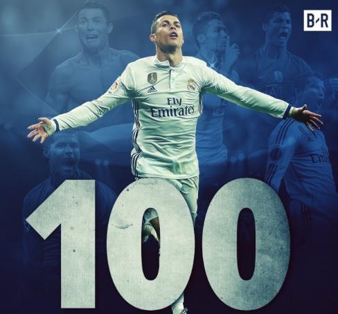 C罗欧冠100球