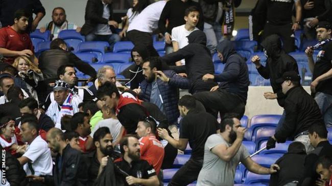 里昂和贝西克塔斯两队的球迷发生冲突