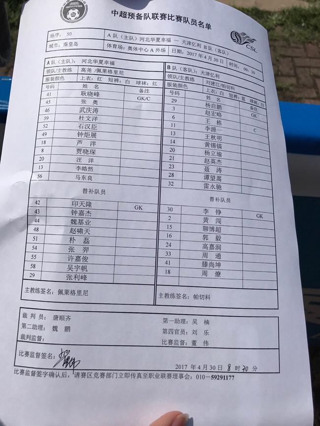 △华夏幸福vs天津亿利预备队首发阵容