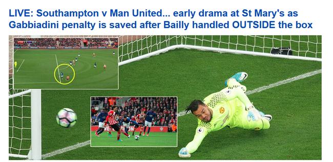《每日邮报》:拜利的手球在禁区外