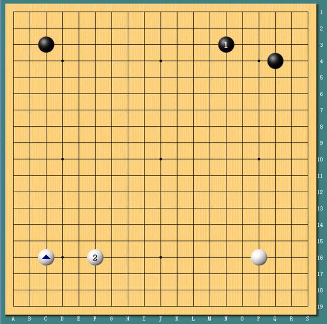 柯洁执黑VSAlphaGo。柯洁大飞守角,AlphaGo也下出了标志性的大跳守角。