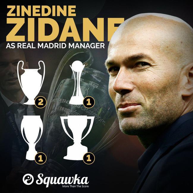上任一年半,齐达内已经带领皇马夺得5冠