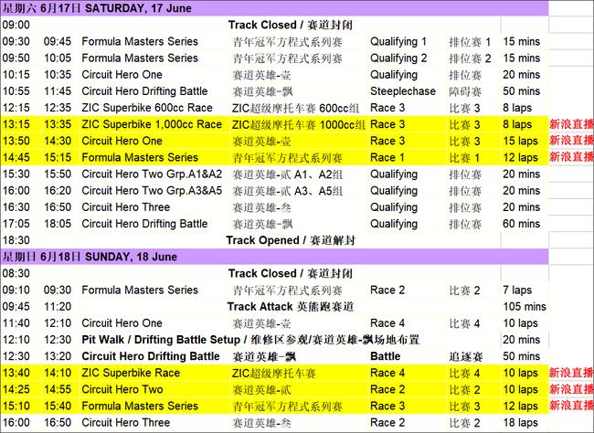 2017年泛珠三角超级赛车节夏季赛赛程表