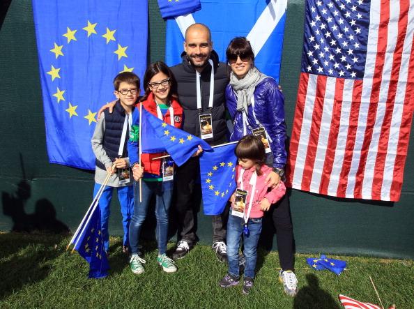 2012年莱德杯,瓜帅携全家观战,并与小麦父亲成为好友