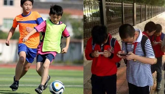 小学生玩游戏和踢足球