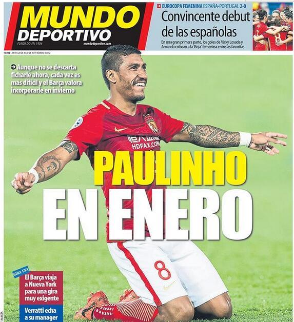 《世界体育报》:巴萨1月份再买保利尼奥