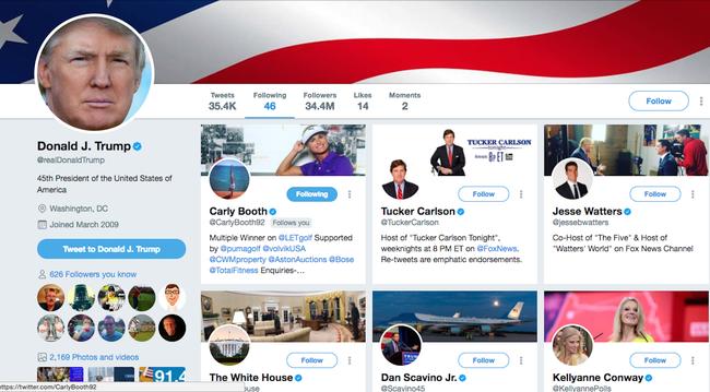 特朗普推特最新关注的人就是卡莉-布斯