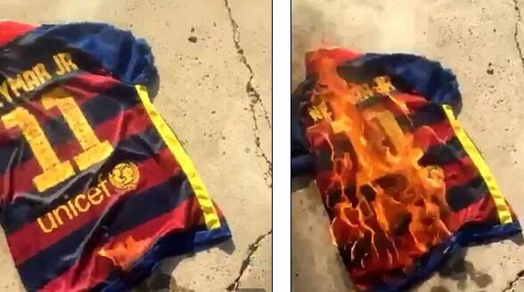 内马尔离开巴萨时,也有球迷焚烧球衣泄愤