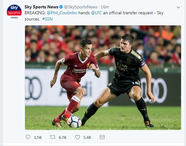 《天空体育》:库蒂尼奥递交转会申请