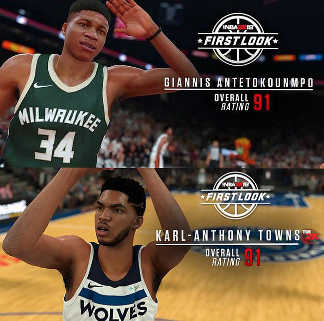 NBA2K18多位球员能力值公布 两神将冲上90+