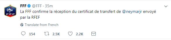 法国足协官方推特截图