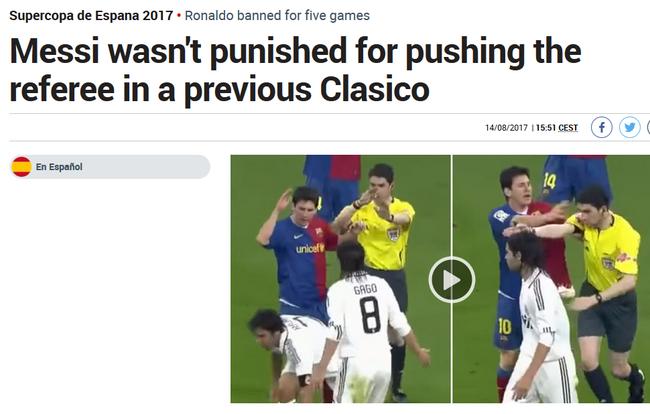 西媒曝料:梅西对皇马也曾推裁判 却逃过处罚