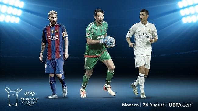 16-17赛季欧足联最佳球员的三个候选人