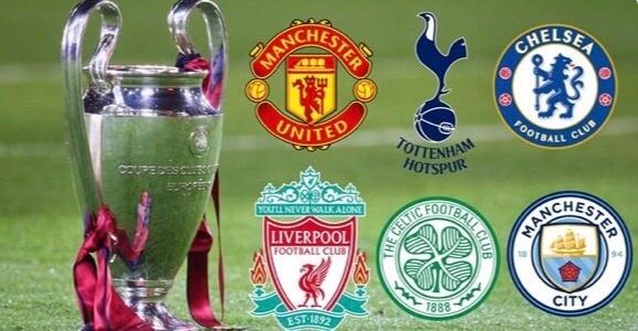 新赛季,英国6队参战欧冠
