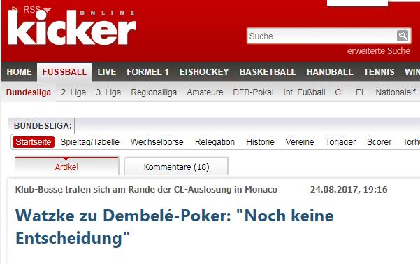 瓦茨克否认登贝莱即将加盟巴萨