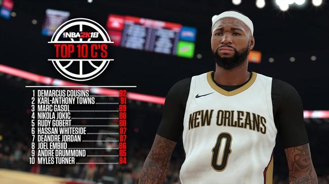 NBA2k18十大中锋曝光:第一高达92 大帝上榜