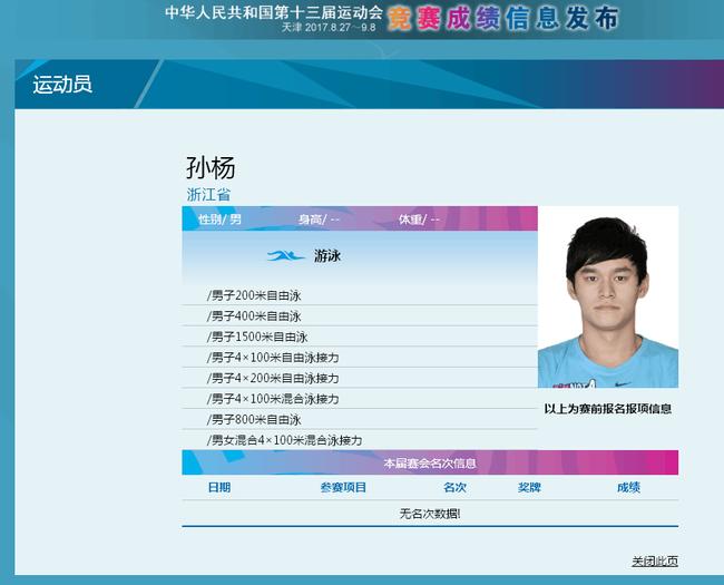孙杨在本次全运会的最终参赛项目是八项_北京pk10开奖