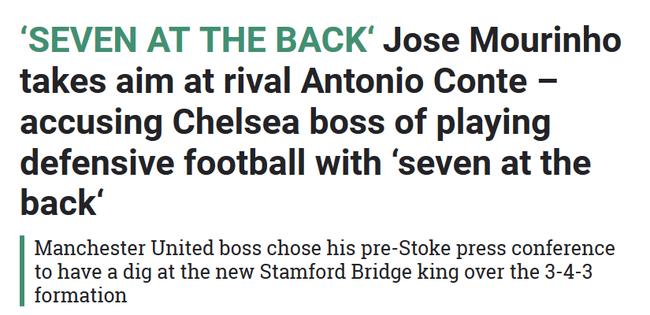 穆帅曾多次表示,切尔西的足球太过防守