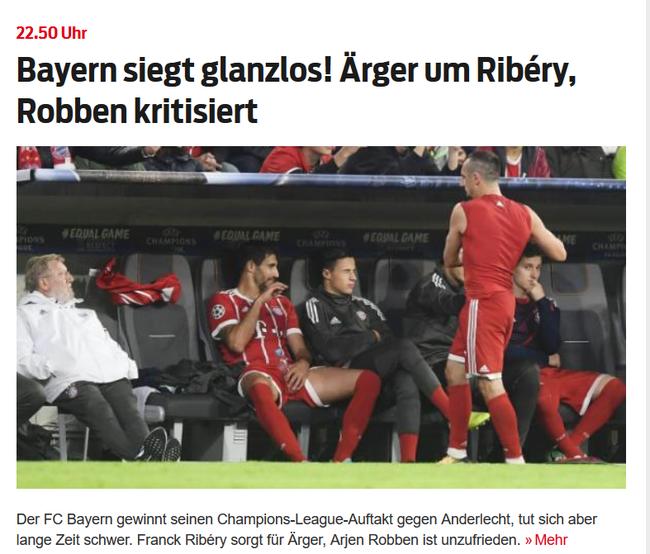 《体育图片报》报道了里贝里摔球衣的事件