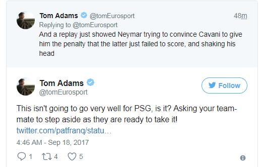 亚当斯的推特截图