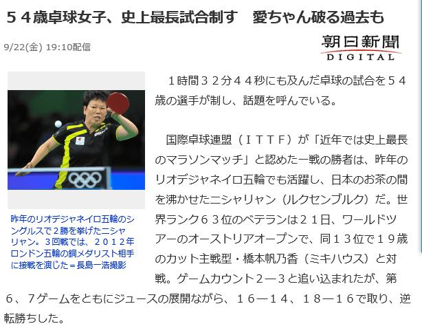 54岁倪夏莲胜日本世界第13 东瀛吐槽都是正能量