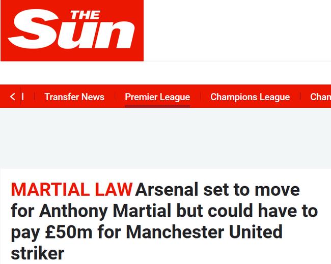 《太阳报》称温格愿意为马夏尔付出5000万英镑以上的转会费
