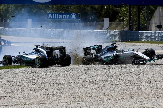 2016F1西班牙大奖赛,汉密尔顿和罗斯伯格之间的碰撞